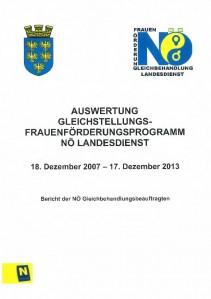 Kurzbericht Auswertung Gleichstellungs- Frauenförderungsprogramm NÖ Landesdienst 2007-2013 Broschüre