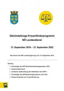 Gleichstellungs- Frauenförderprogramm NÖ Landesdienst 13.09.2016 bis 12.09.2022 Broschüre